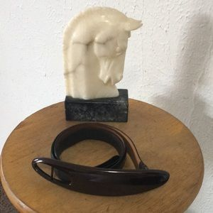 Gucci Black Smooth Leather Belt, Brown Buckle